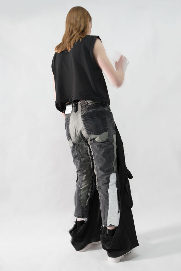 Leather Patched Boyfriend Jeans