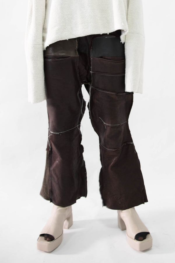 Flared Patchwork Leather Pants