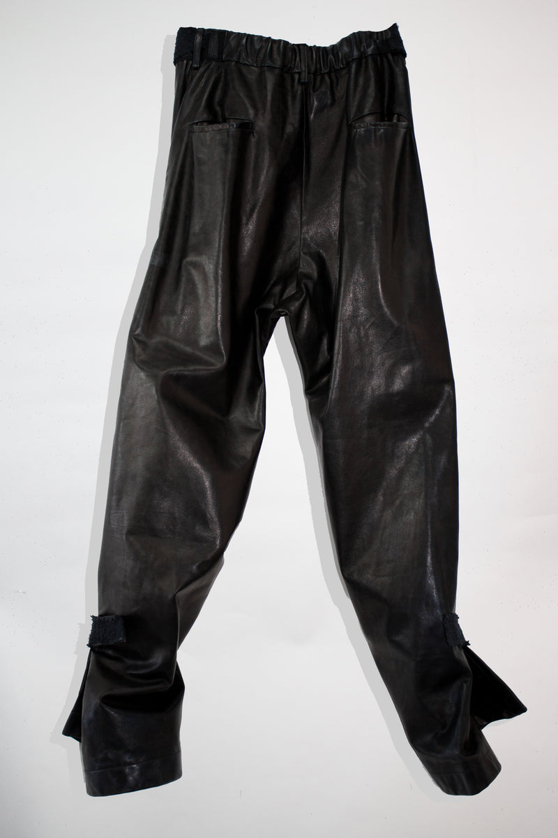 Adjustable Flared Leather Pants - CARL IVAR - carlivar -