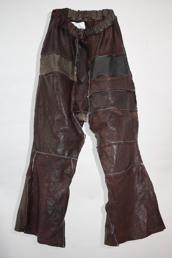 Flared Patchwork Leather Pants - CARL IVAR - carlivar -