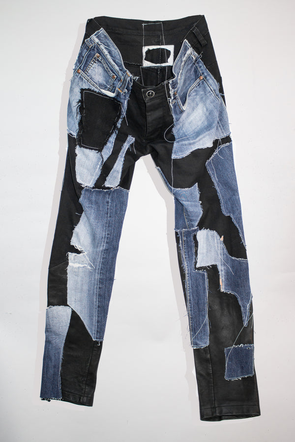 Patch Work Leather Jeans - CARL IVAR - carlivar -