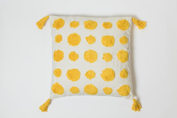 Dots Yellow Pillow - Brodé Collection