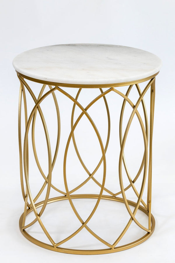 "20"" Circlet Gold/White Marble Table- Metalle Collection"