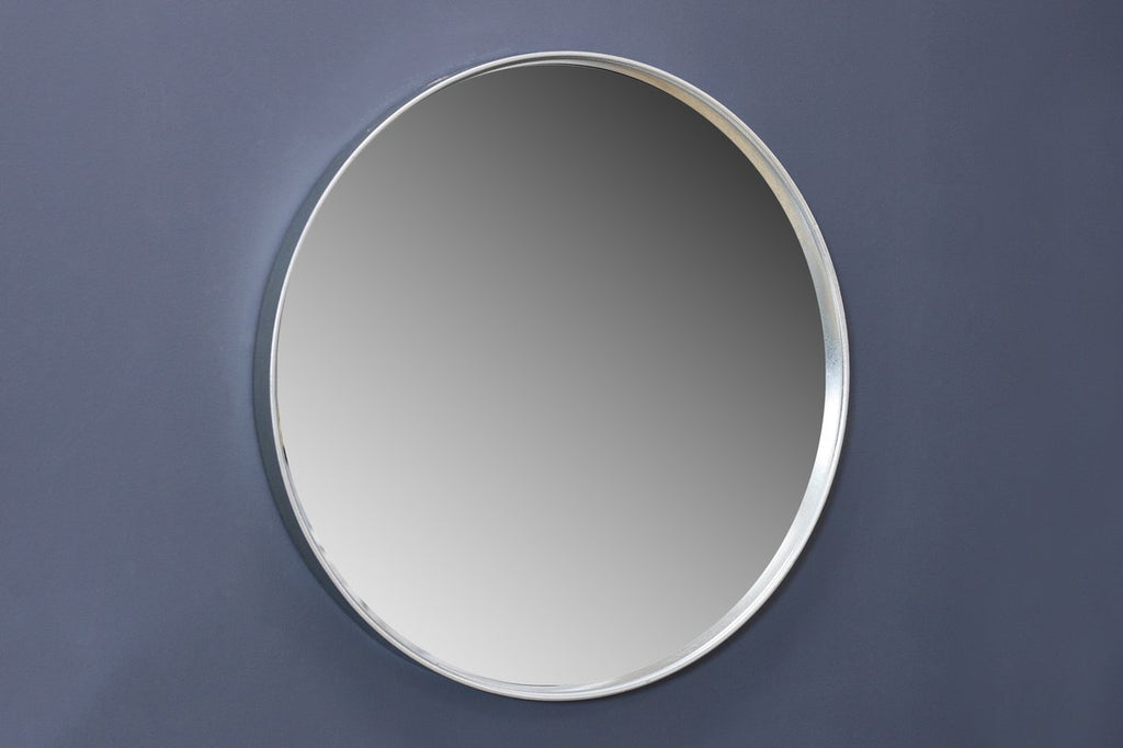 "28"" Silver Round Mirror - Metalle Collection"