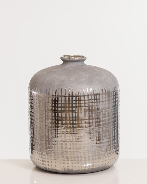"10"" Silver Plump Vase Pot- Shades Collection"