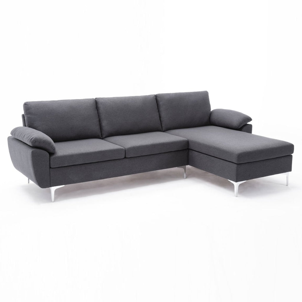 D'Angelo Reversible Sectional Sofa - Charcoal Gray