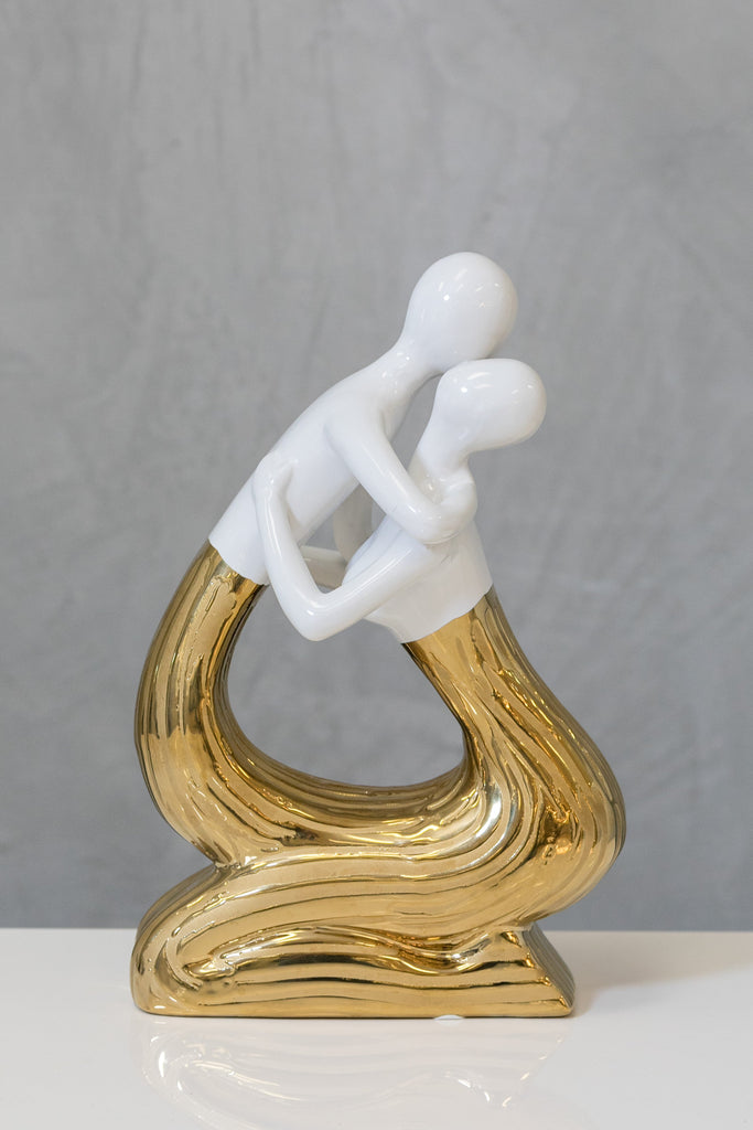 "14"" White/Gold Sculpture - Pur Ceramic Collection"