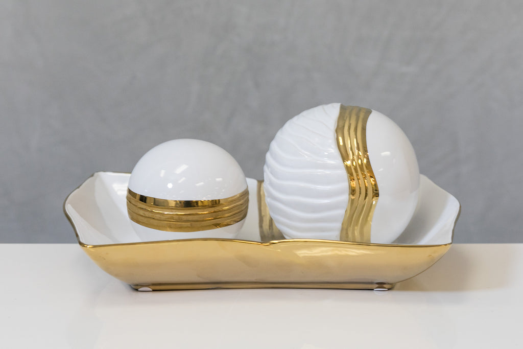 "12"" White/Gold Plate - Pur Ceramic Collection"