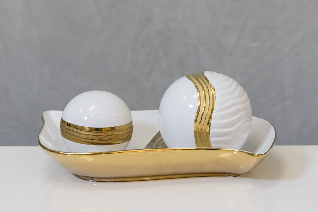"4"" White/Gold Ball - Pur Ceramic"
