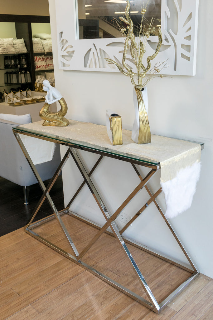 "47"" x 31""  Diamond Console Table - Miraggio Collection"