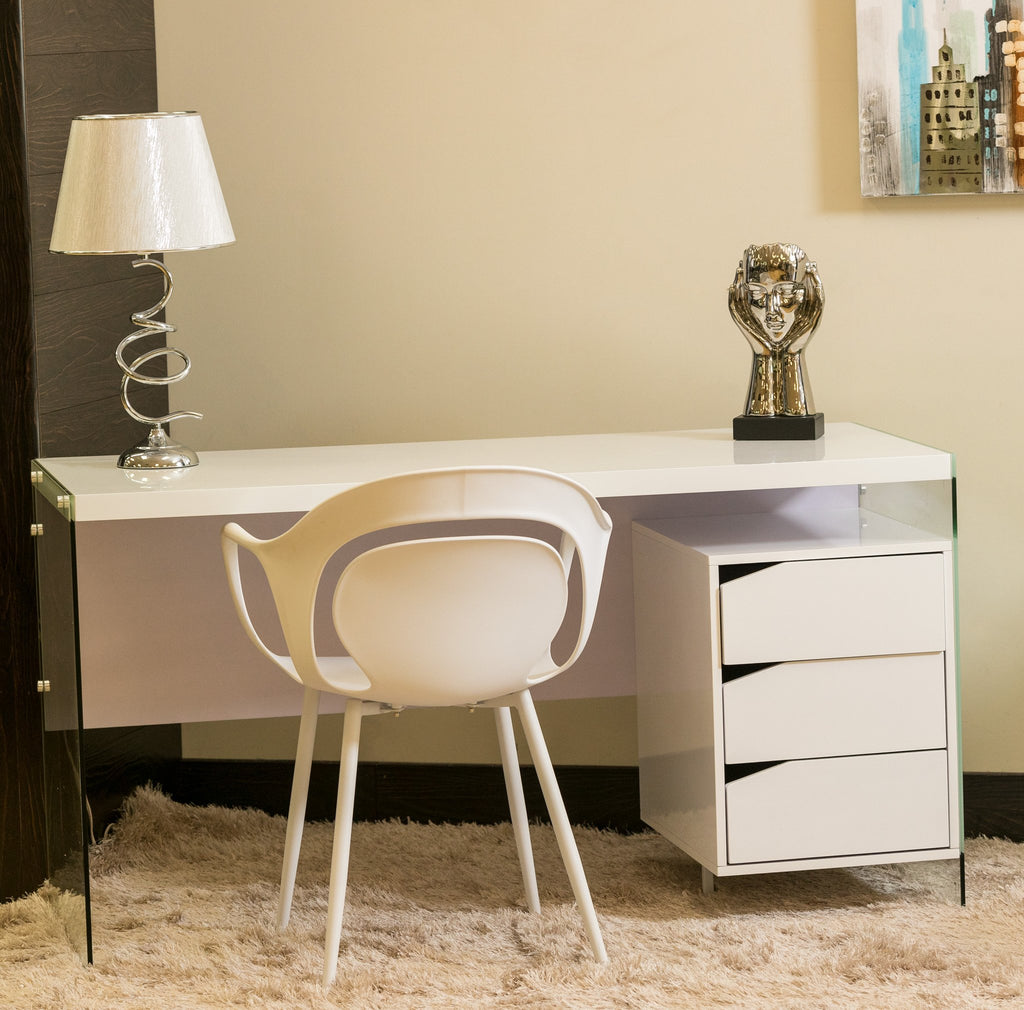"55"" GT White Wood Desk - Giada Collection"