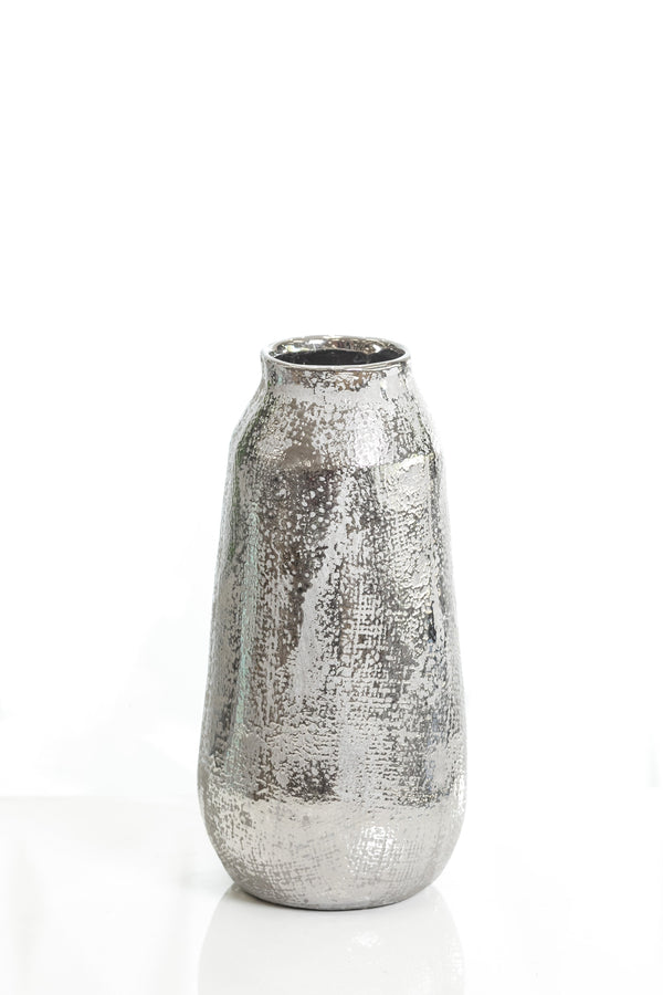 "11"" Shades Silver Medium Pot Vase"
