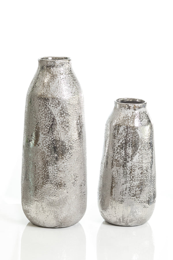 "14"" Shades Silver Long Pot Vase"