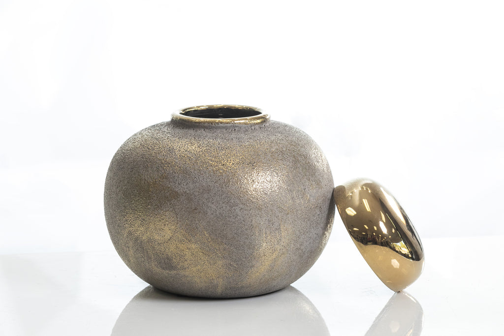 "6.5"" Shades Gold Round Pot"