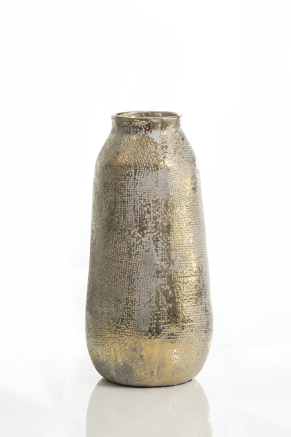 "11"" Shades Gold Medium Pot Vase"