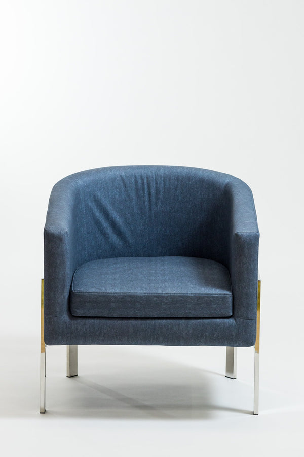 Rylee Midnight Blue Armchair-Stainless Stainless Steel Frame