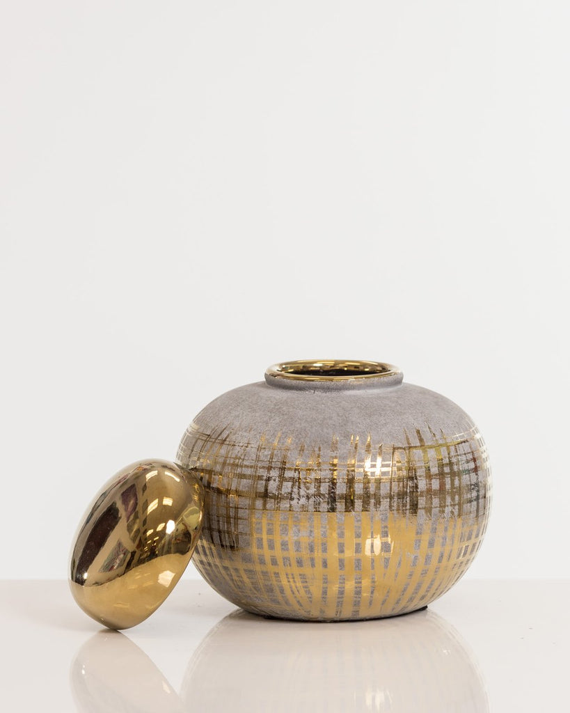 "7"" Gold Round Vase w/ Lid- Shades Collection"