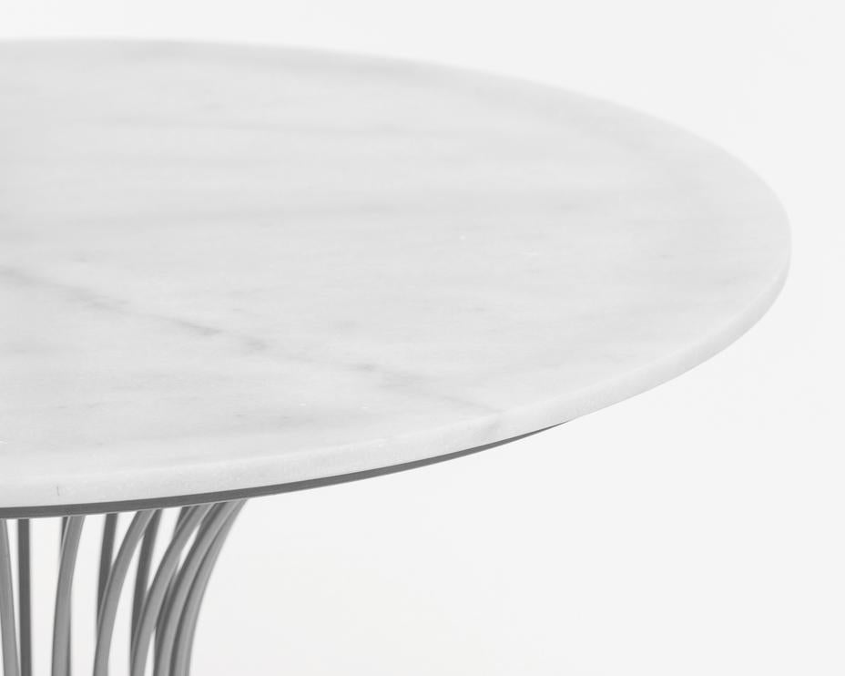Silhouette Silver/White Marble Table- Metalle Collection