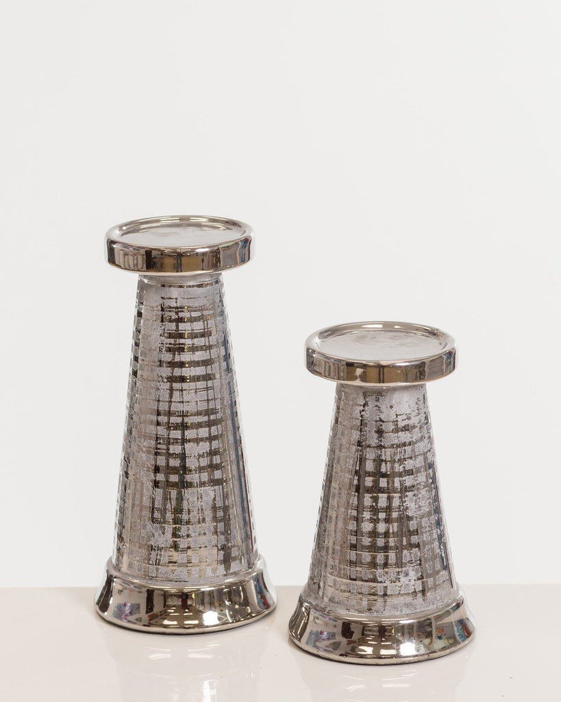 "7"" Silver Candleholder- Shades Collection"