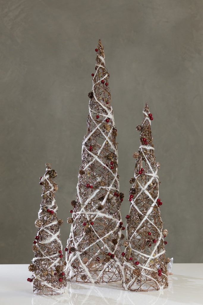 Vintage Xmas Set/3 Cone Trees w/Lights