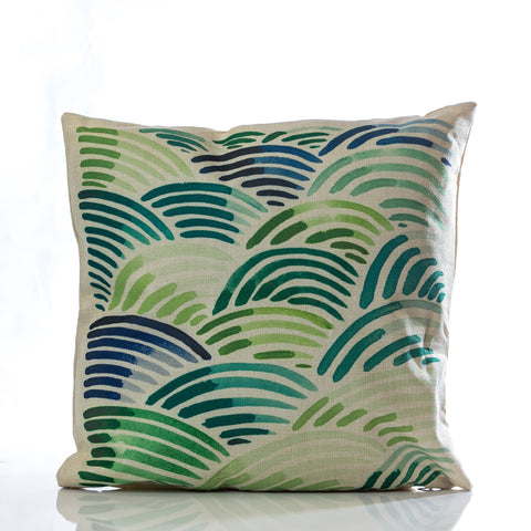"Waves Pillow - Grn.Combination 18"" x 18"""