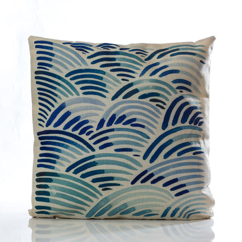 "Waves Pillow - Blue Combination 18"" x 18"""