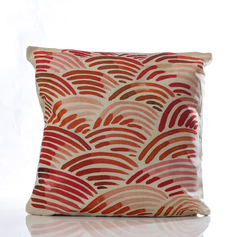 "Waves Pillow - RD/ORG 18"" x 18"""