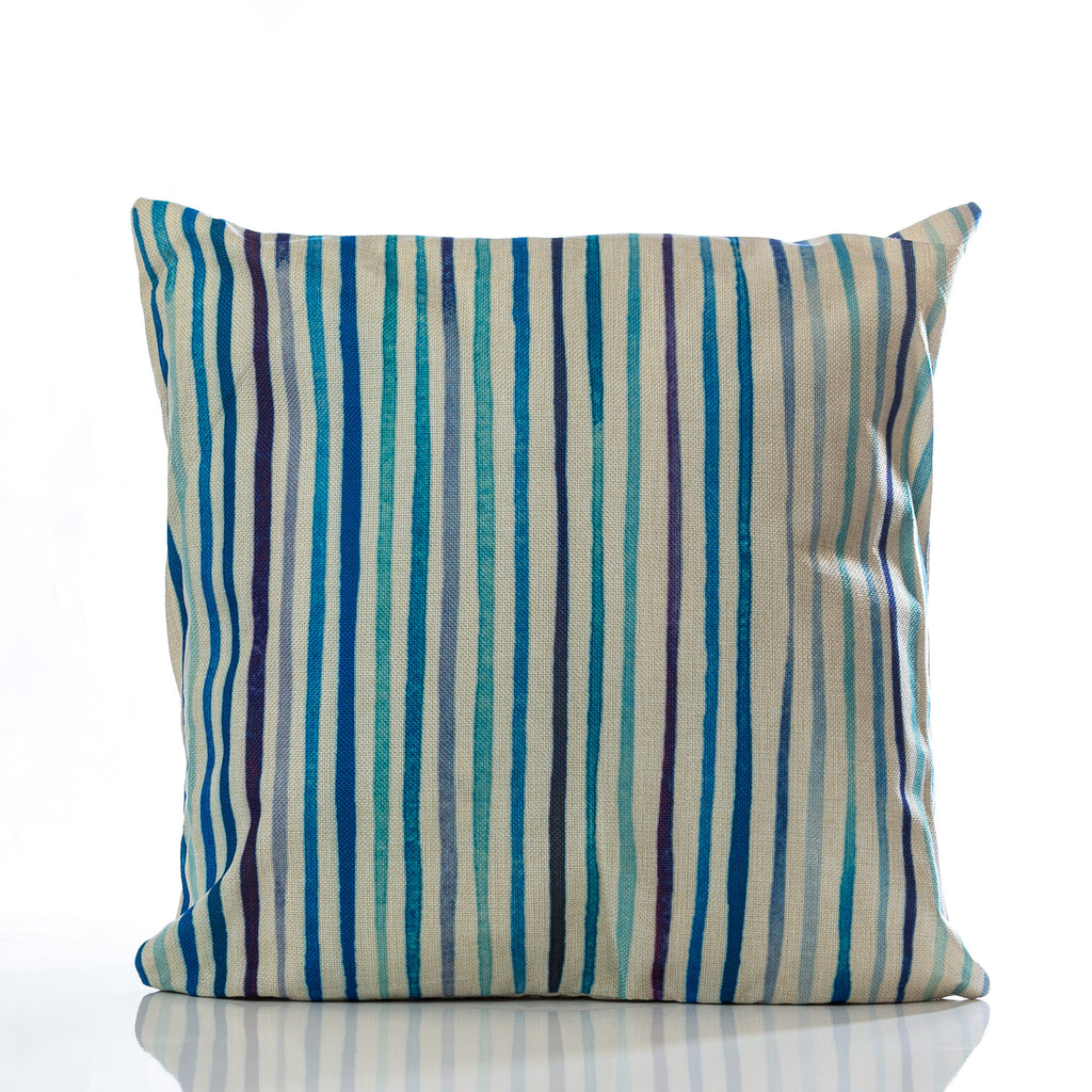 "Lines Pillow - Blue Combination 18""x18"""