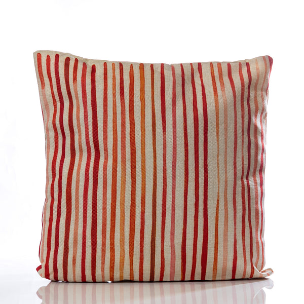 "Lines Pillow - RD/ORG 18""x18"""