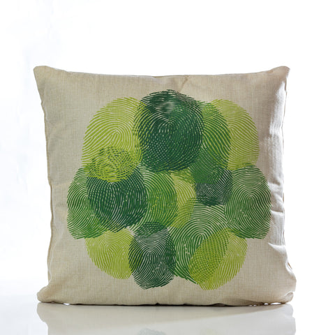 "Huellas Pillow - Green Combination 18""x18"""