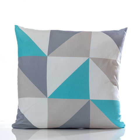 "Triangles Pillow - Turquoise Combination 18"" x 18"""