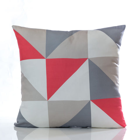 "Triangles Pillow - Coral Combination 18"" x 18"""