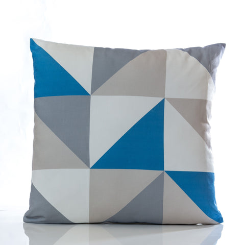 "Triangles Pillow - Blue Combination 18"" x 18"""