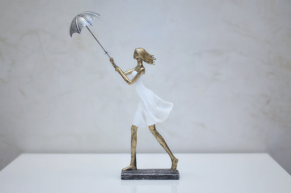 "Nantes Girl w/ Umbrella in Wind - 16""H"