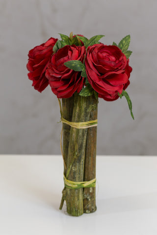 "12"" Modern Rose Bouquet Red"