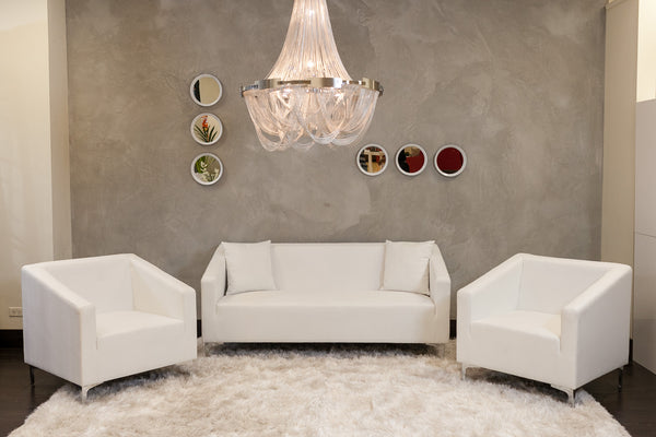 Caitlyn Sofa Set - Pure White (Includes 2 Armchairs + Sofa)