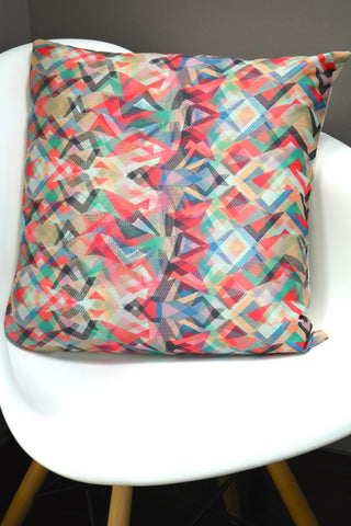 "Mosaico Cushion - Lipstick Color Mix 18"" x 18"""