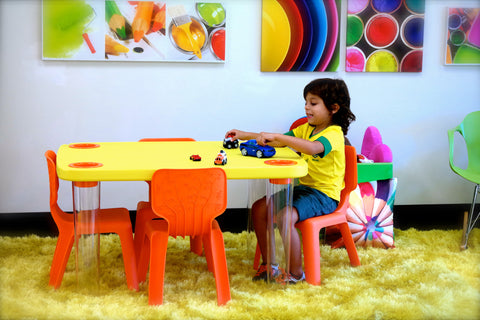 HappyKids Children Table + 2 Orange chairs