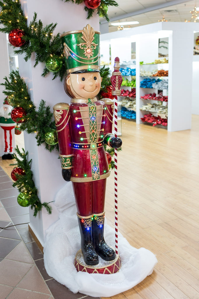 "Toy Soldier w/Staff Décor w/Led Lights Green Hat - Red Uniform / 24""x19.5""x80"""