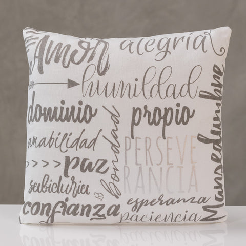 "18""x18"" Perseverancia - Silver/Gray Pillow by Liz"