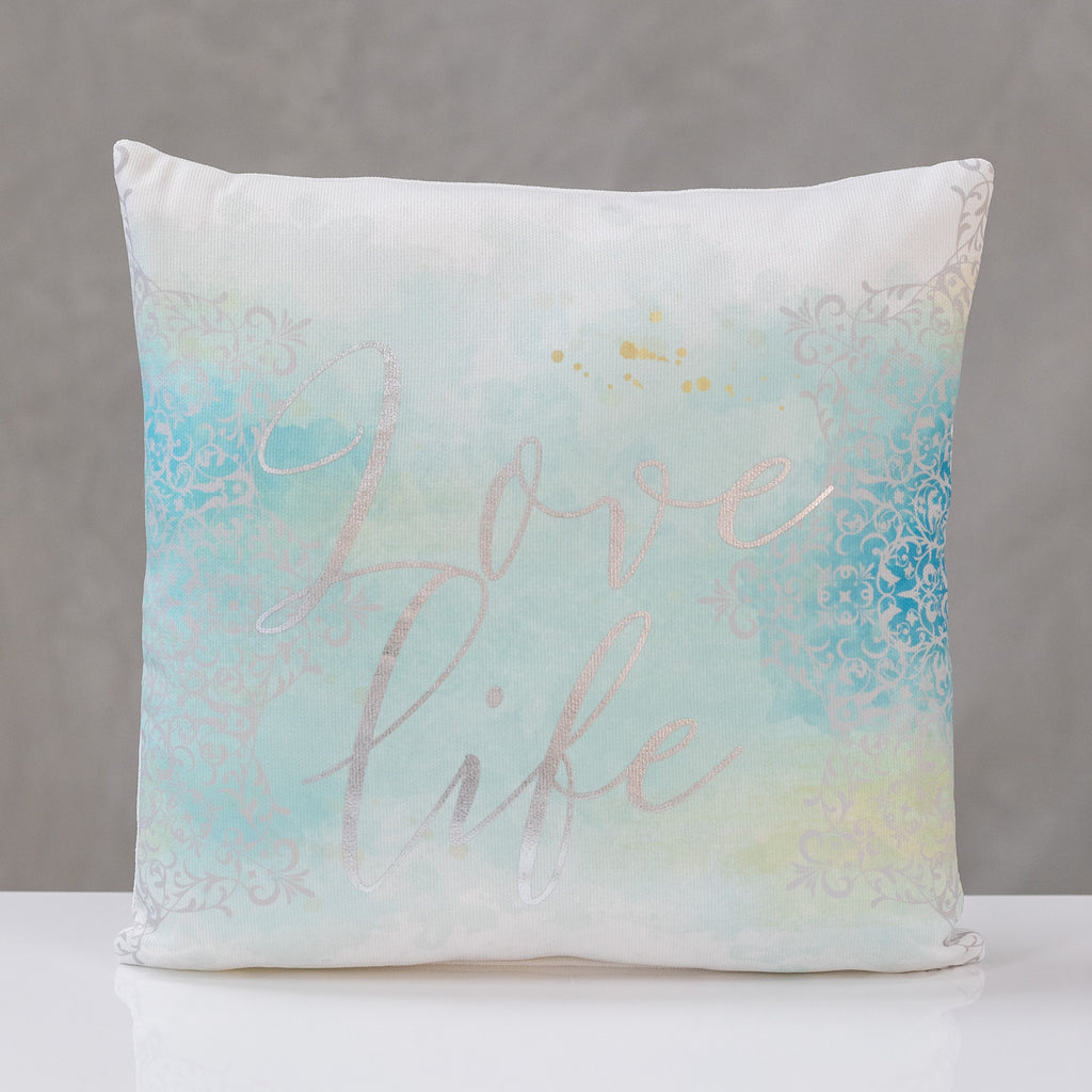 "18""x18"" Love Life - Silver/Aqua Pillow by Liz"