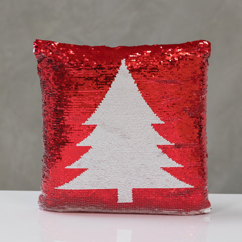 "18""x18"" Reversible Sequin Xmas Tree Pillow - Red/White"