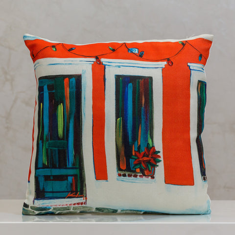 "18"" x 18"" Pillow Old San Juan Orange Door - Local Design By Vivi.Kris"