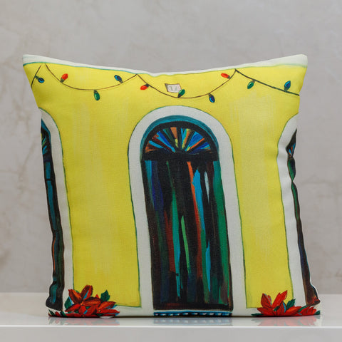 "18"" x 18"" Pillow Old San Juan Yellow Door - Local Design By Vivi.Kris"