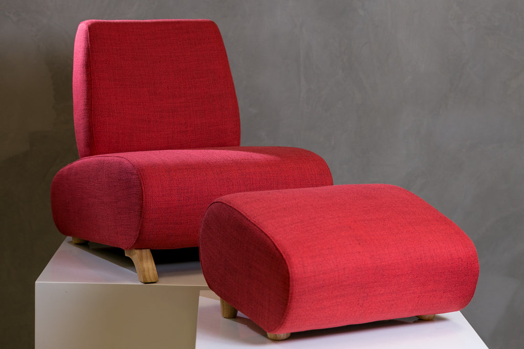 HappyKids Chair + Ottoman - Red