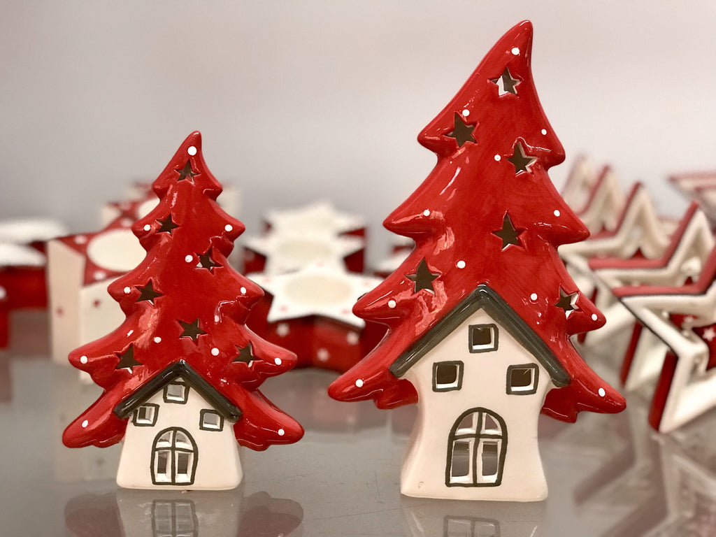 Set of 2 Red Tree & White Houses