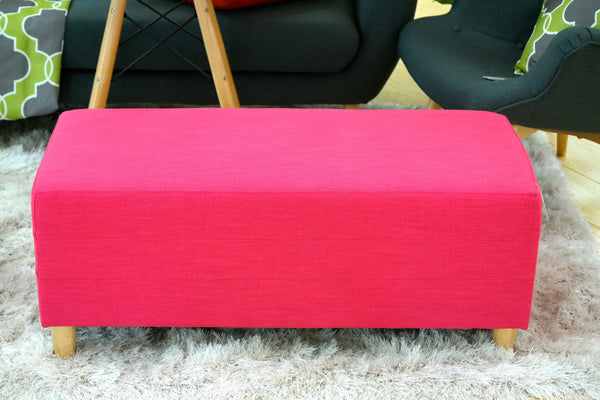 "Penelope Rectangle Ottoman - Color: Electric Pink 16""H x 39""L"