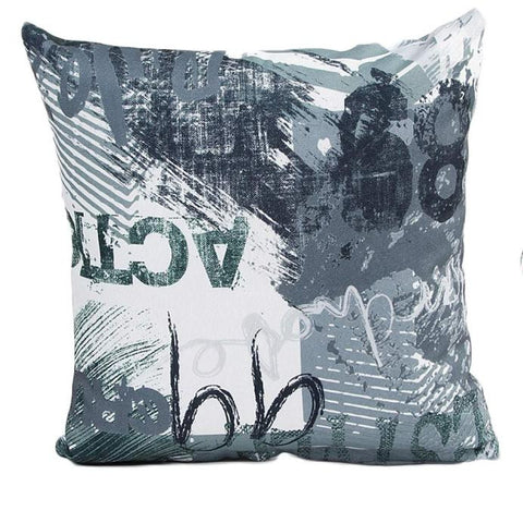"18"" x 18"" Graffiti Pillow Cover - Green Combination (Exclusively Online)"