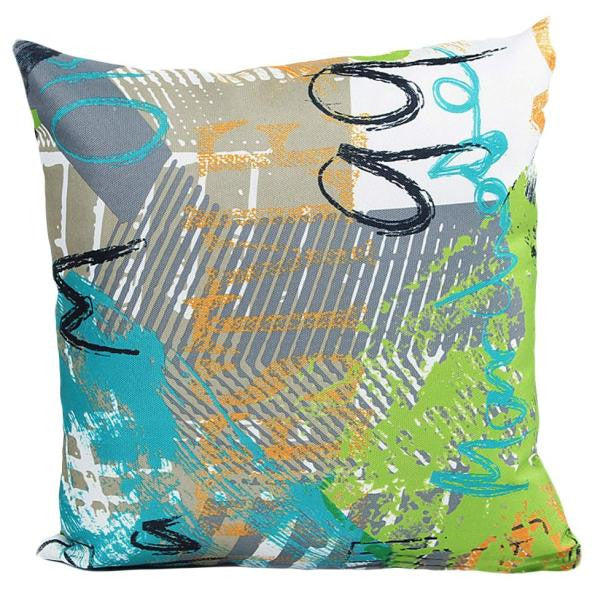 "18"" x 18"" Graffiti Pillow Cover - Sky Blue Combination (Exclusively Online)"