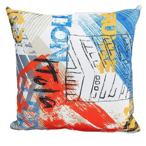 "18"" x 18"" Graffiti Pillow Cover - Red Combination (Exclusively Online)"